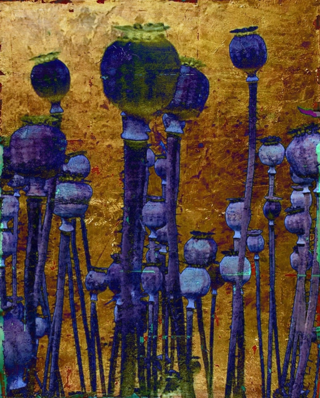 13-11 Mischtechnik Blattgold Leinwand 40 x 50 cm_Mohn