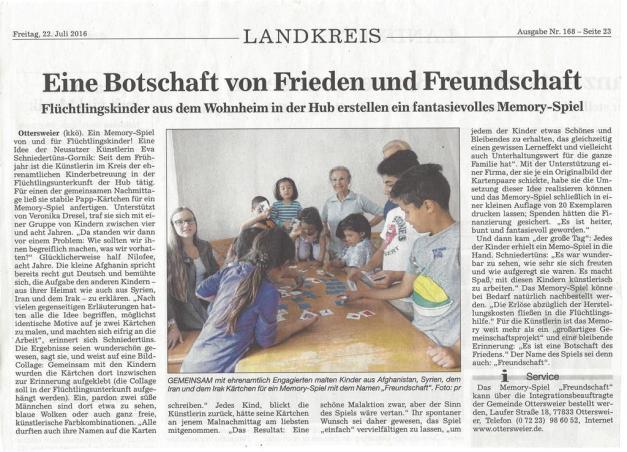 Eine Botschaft von Frieden und Freundschaft- Flüchtlingskinder gestalten ein Memory-Spiel, eva Schniedertüns Gornik, www.schnie-go-kunst.de