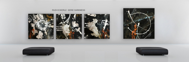 Modern museum with 5 blank canvasas as panorama