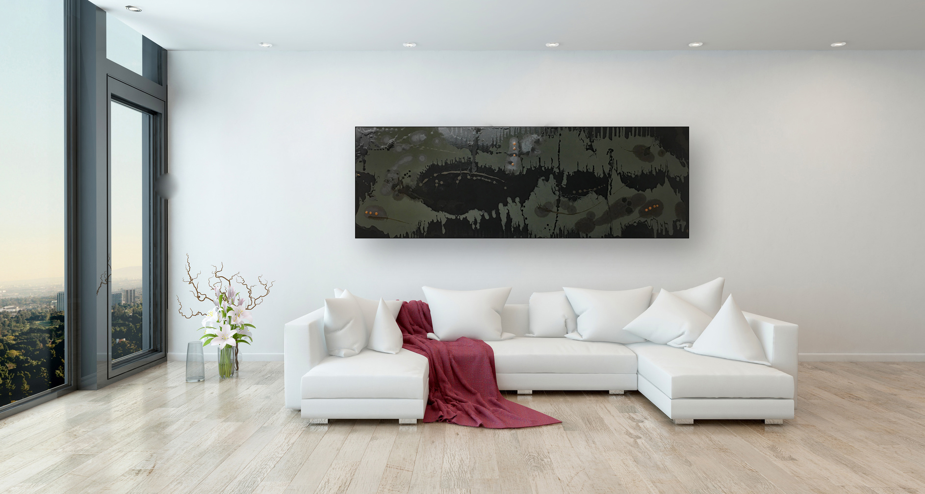 Red Throw on White Sofa in Modern Living Room