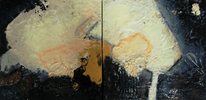 Petra Lorch 10.014.1.2 - Mischtechnik auf Leinwand - 2x30x30 Dölker, Kronengasse, 77855 Achern
