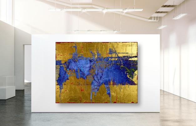 Blank white wall mockup in sunny modern empty gallery
